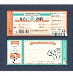 Pastel Retro Boarding Pass Ticket Wedding card vector image