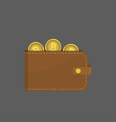 leather wallet with bitcoins vector image
