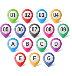 Map pointers with numbers and letters vector image vector image