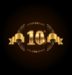 10 years anniversary celebration logotype golden vector image