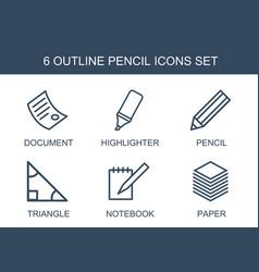 6 pencil icons vector image