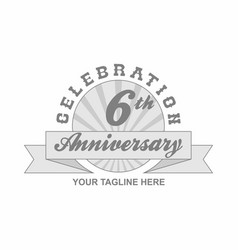 6 th anniversary grey shine background vector