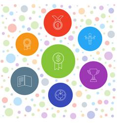 7 achievement icons vector