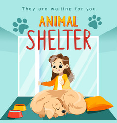animal shelter design poster with child dog and vector image