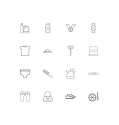Beauty dress and clothes linear thin icons set vector