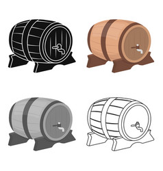 Beer barrel icon in cartoon style isolated on vector