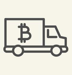 Bitcoin car line icon crypto van vector