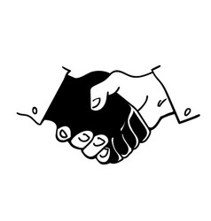 black and white human hands in a handshake hand vector image