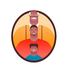 black men family member photo frame isolated vector image
