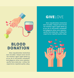 Blood donation and give love social action vector