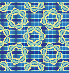 bold plaid floral seamless pattern boho vector image