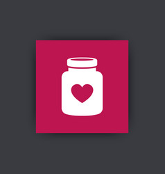 bottle of pills icon drugs for heart vector image