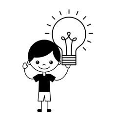 boy holding light bulb idea vector image