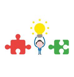 businessman character between incompatible jigsaw vector image