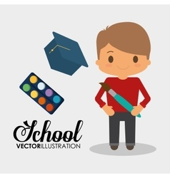 Cartoon boy student school palette color brush vector