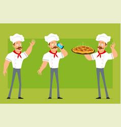 cartoon flat strong chef cook man character set vector image