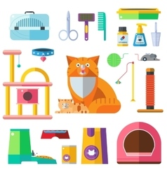 Cat accessory icons vector