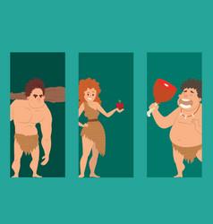 Caveman primitive stone age cartoon neanderthal vector