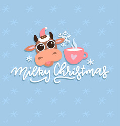 Christmas cute cartoon cow with hand drawn vector