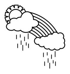 Cloud sky rainy with sun weather and rainbow vector