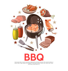 Colorful barbecue party round concept vector
