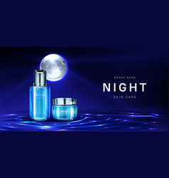 Cosmetics for night skin care banner cream jar vector