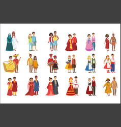 couples in national clothes set vector image