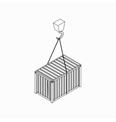 Crane lifts container icon isometric 3d style vector image