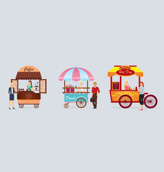 creative detailed street coffee cart donat vector image