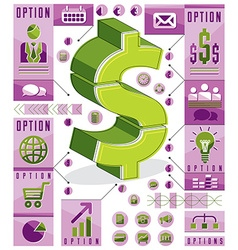 Creative infographics template layered dollar sign vector