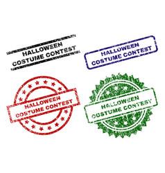 Damaged textured halloween costume contest stamp vector
