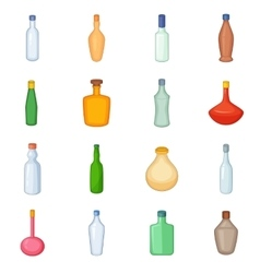 Different bottles icons set cartoon style vector