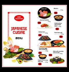 Exotic japan dishes cuisine menu vector