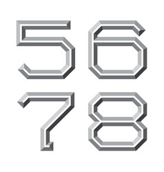 Five six seven eight gray faceted numbers vector