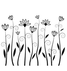 flower silhouettes image vector image