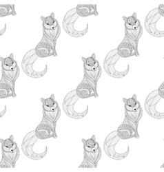 Fox seamless pattern in zentangle style freehand vector