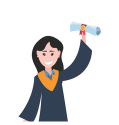 Graduate woman college with diploma vector