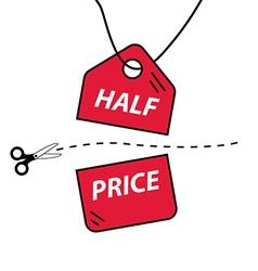 Half price cut vector