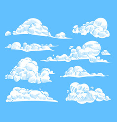 hand drawn clouds sketch cloudy sky vintage vector image