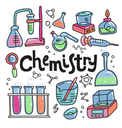 hand drawn color chemistry and science icons set vector image