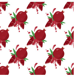Hand drawn pomegranate background with juicy vector