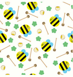 happy bee with honey comb and honey pot seamless vector image
