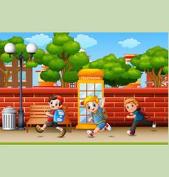 Happy children running at sidewalk vector
