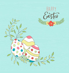 happy easter card of spring egg hunt with flowers vector image
