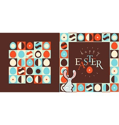Happy Easter greeting card design Retro style eggs vector image