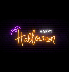 Happy halloween neon sign board bright light vector