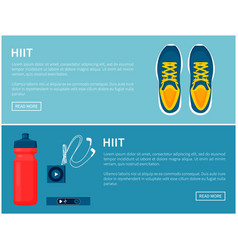 hiit sportswear sport shoes and helpful gadgets vector image