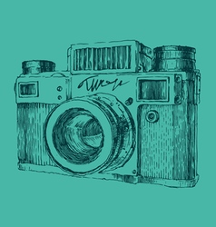 Hipster photo camera engraved retro style hand vector