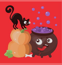 hungry cauldron halloween cartoon vector image