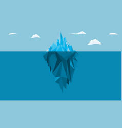 Iceberg in ocean with a view under water vector